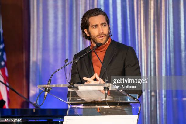 Jake Gyllenhaal speaks at the 7th Annual Headstrong Gala at Pier Sixty at Chelsea Piers on October 17, 2019 in New York City.