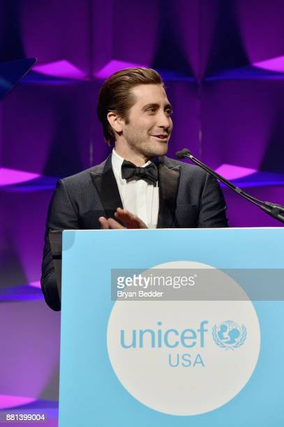 Jake Gyllenhaal speaks onstage during the 13th Annual UNICEF Snowflake Ball 2017 at Cipriani Wall Street on November 28 2017 in New York City