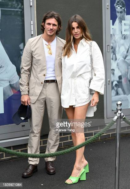 Jake Hall and Misse Beqiri attend the Wimbledon Tennis Championships at All England Lawn Tennis and Croquet Club on June 28, 2021 in London, England.