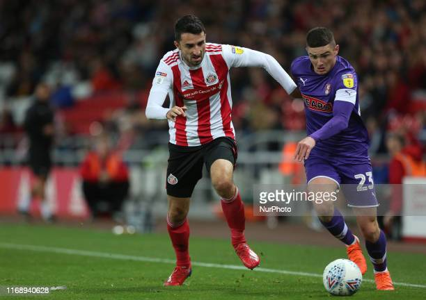 Jake Hastie of Rotherham United battles with Sunderland's Conor McLaughlin during the Sky Bet League 1 match between Sunderland and Rotherham United...