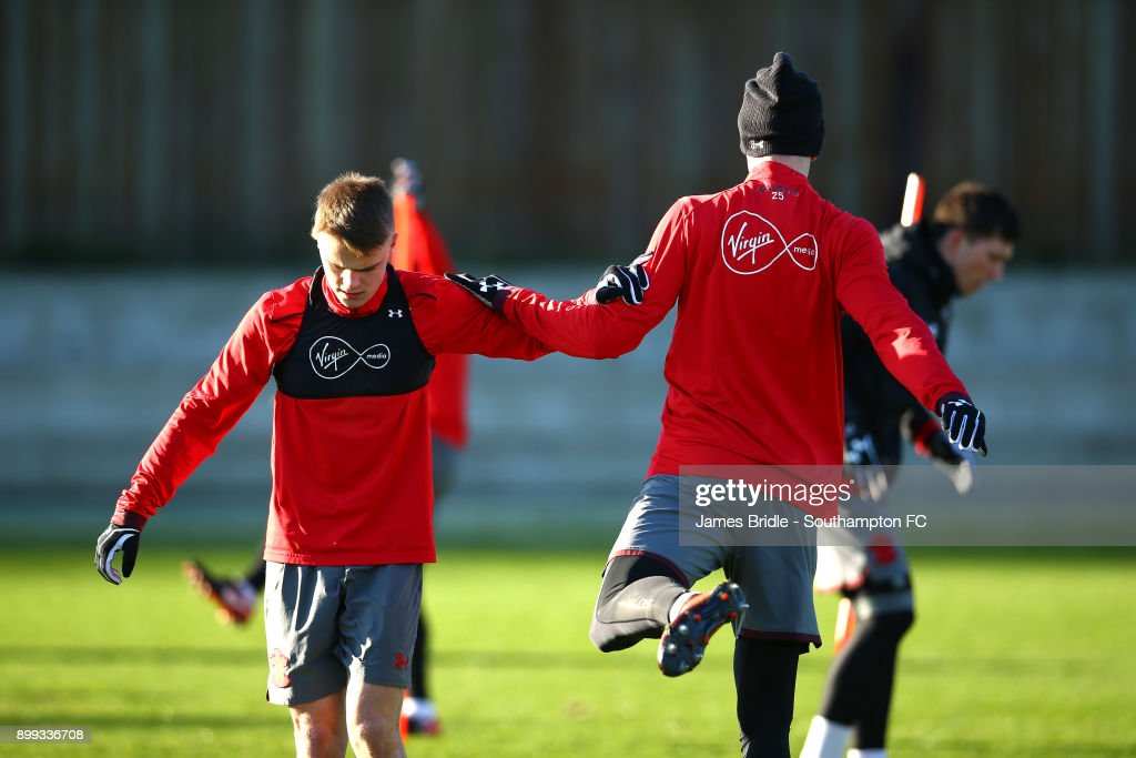 Jake Hesketh (L) and Florin Gardos during a Southampton FC training session at Staplewood Complex on December 28, 2017 in Southampton, England.