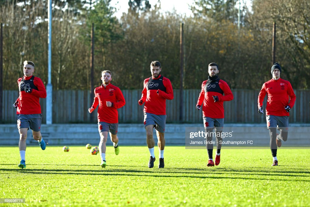 Jake Hesketh, Josh Sims, Sam McQueen, Shane Long, Florin Gardos during a Southampton FC training session at Staplewood Complex on December 28, 2017 in Southampton, England.