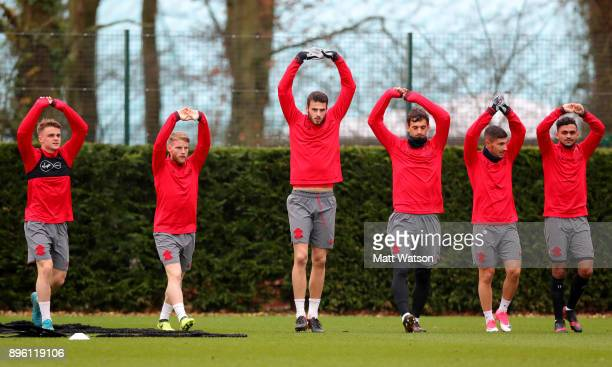 Jake Hesketh Josh Sims Wesley Hoedt Manolo Gabbiadini Jeremy Pied and Sofiane Boufal during a Southampton FC training session at Staplewood Complex...