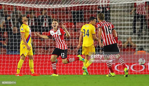 Jake Hesketh of Southampton celebrates scoring his sides second goal during the EFL Cup Third Round match between Southampton and Crystal Palace at...