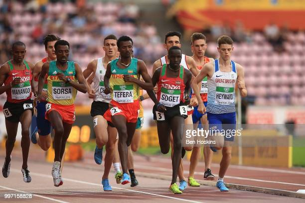 Jake Heyward of Great Britain leads the pack during the final of the men's 1500m on day three of The IAAF World U20 Championships on July 12 2018 in...