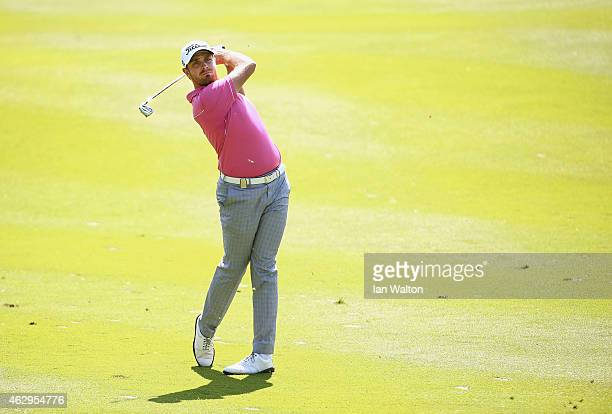 Jake Higginbottom of Australia in action during the final round of the 2015 Maybank Malaysian Open at Kuala Lumpur Golf Country Club on February 8...