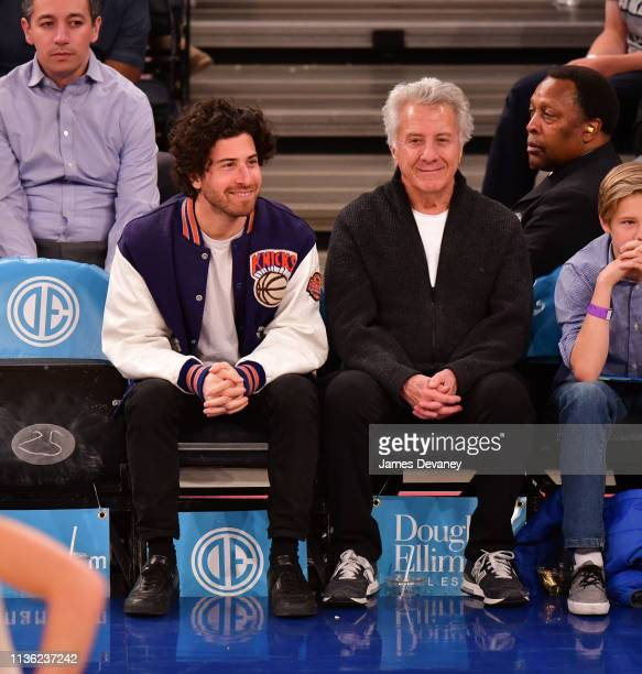 Jake Hoffman and Dustin Hoffman attend Detroit Pistons v New York Knicks game at Madison Square Garden on April 10 2019 in New York City