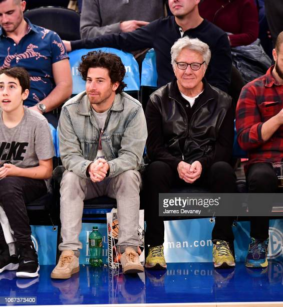 Jake Hoffman and Dustin Hoffman attend New York Knicks vs Milwaukee Bucks game at Madison Square Garden on December 1 2018 in New York City