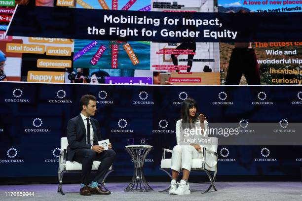 Jake Horowitz CoFounder EditoratLarge Policymic and Jameela Jamil Activist Founder I Weigh speak onstage during the 2019 Concordia Annual Summit Day...