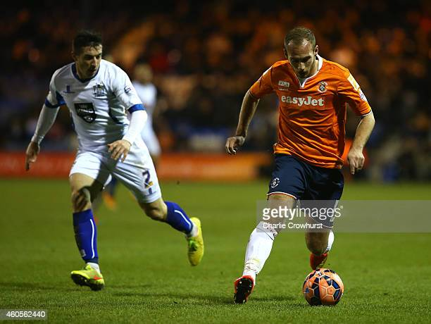 Jake Howells of Luton attacks during the FA Cup Second Round Replay match between Luton Town and Bury at Kenilworth Road on December 16 2014 in Luton...