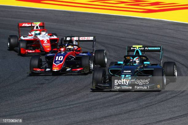 Jake Hughes of Great Britain and HWA Racelab leads Lirim Zendeli of Germany and Trident and Frederik Vesti of Denmark and Prema Racing during the...