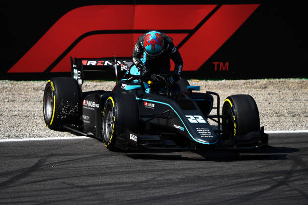 Jake Hughes of Great Britain and HWA Racelab retires from the race during Round 5:Monza sprint race 2 of the Formula 2 Championship at Autodromo di...