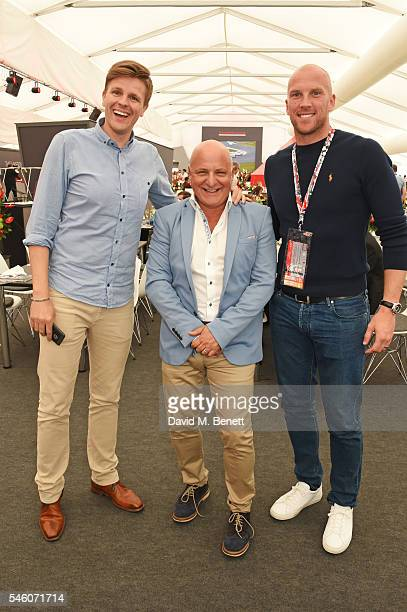Jake Humphrey Aldo Zilli and John Ruddy attend the British Grand Prix in the Drivers Lounge at Silverstone on July 10 2016 in Northampton England