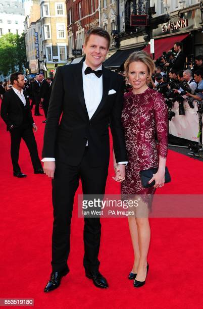Jake Humphrey and Harriet Humphrey arriving for the 2014 Arqiva British Academy Television Awards at the Theatre Royal Drury Lane London