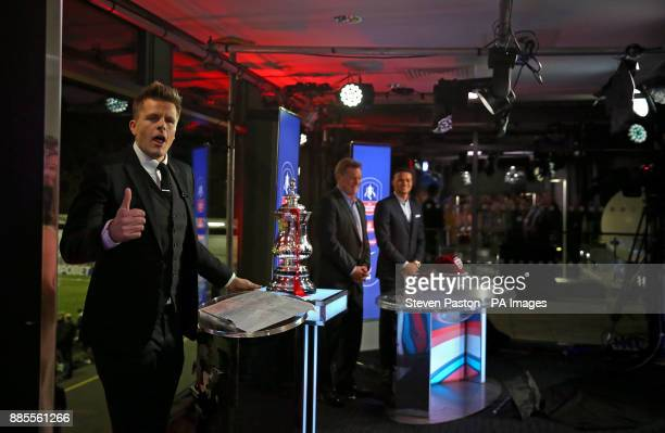 Jake Humphrey presents the Emirates FA Cup 3rd round draw before the Emirates FA Cup Second Round match at Arbour Park Slough
