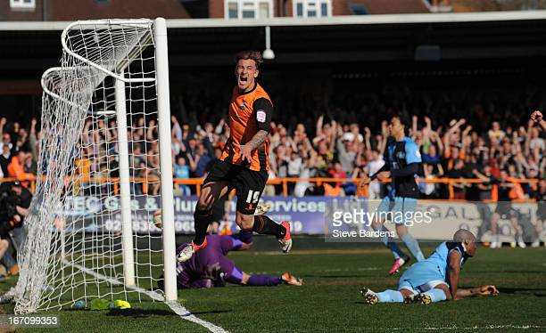 Jake Hyde of Barnet celebrates scoring the opening goal during the npower League Two match between Barnet and Wycombe Wanderers at Underhill Stadium...