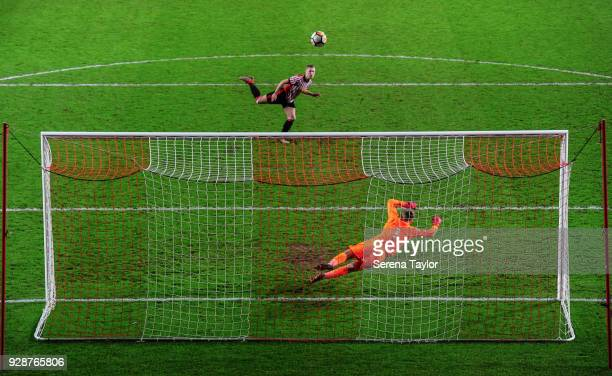 Jake Jackett of Sunderland misses his penalty to allow Newcastle win in a penalty shoot out during the Premier League International Cup between...