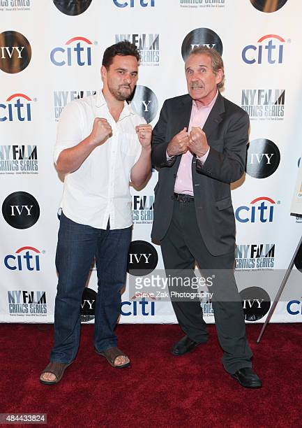 Jake Johnson and Peter Travers attend New York Film Critics Series 'Digging For Fire' at AMC Empire 25 theater on August 18 2015 in New York City