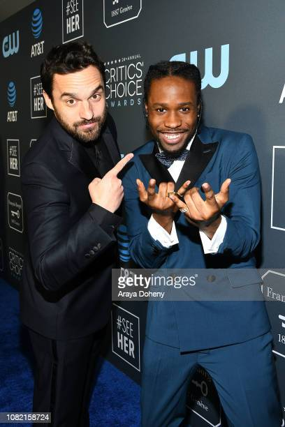 Jake Johnson and Shameik Moore at Claire Foy Accepts The #SeeHer Award At The 24th Annual Critics' Choice Awards The Barker Hanger on January 13 2019...