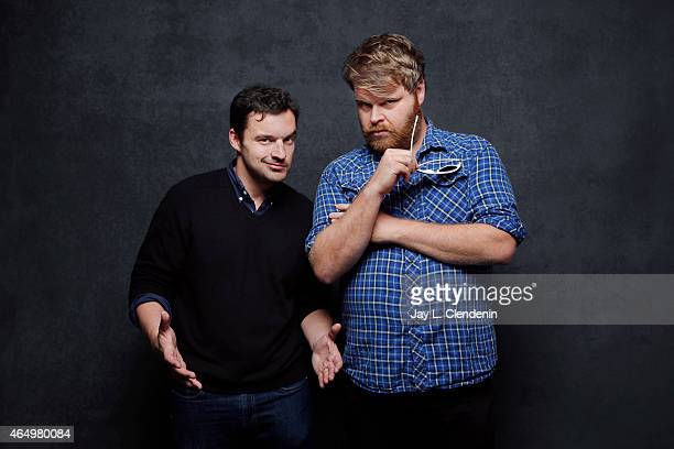 Jake Johnson and Steve Berg from the film 'Digging for Fire' pose for a portrait for the Los Angeles Times at the 2015 Sundance Film Festival on...
