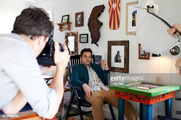 Jake Johnson is photographed behind the scenes of the The Hollywood Reporter Comedy Actor Emmy Roundtable at the Bungalow at the Fairmont Hotel for...