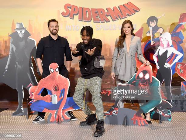 Jake Johnson Shameik Moore and Hailee Steinfeld attend the Photo Call For Sony Pictures Releasing's SpiderMan Into The SpiderVerse at Four Seasons...