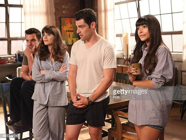 Jake Johnson Zooey Deschanel Max Greenfield and Hannah Simone in the Double Date episode of NEW GIRL airing Tuesday Oct 1 2013 on FOX