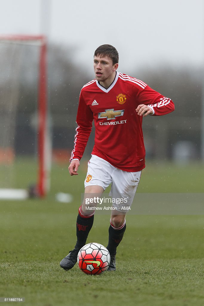 Jake Kanyon of Manchester United U18 during the U18 Premier League match between Manchester United and West Bromwich Albion at Aon Training Complex on February 20, 2016 in Manchester, England.