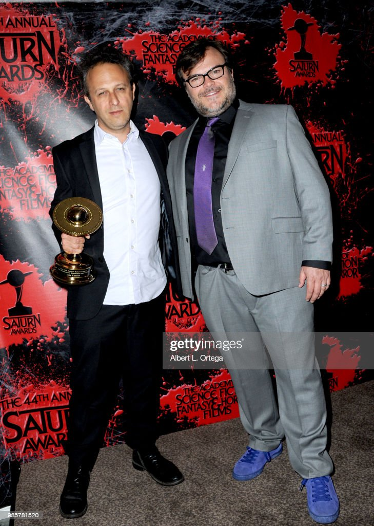 Jake Kasdan and Jack Black pose in the press room at the Academy Of Science Fiction, Fantasy & Horror Films' 44th Annual Saturn Awards at The Castaway on June 27, 2018 in Burbank, California.
