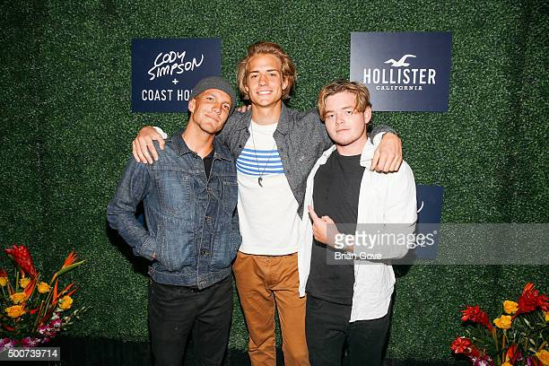 Jake Kelley Corey Harper and Knox Harris attend the Hollister Holiday Carnival at The Roxy Theatre on December 9 2015 in West Hollywood California