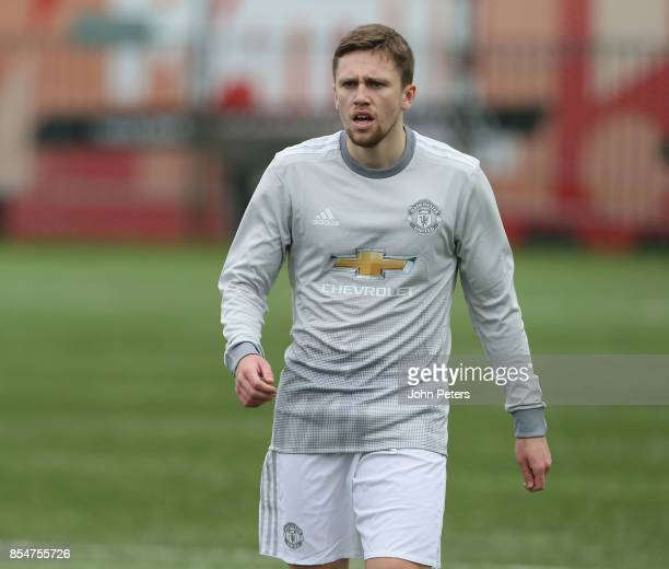 Jake Kenyon of Manchester United U19s in action during the UEFA Youth League match between CSKA Moskva U19s and Manchester United U19s at Oktyabr...