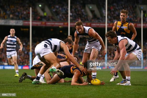 Jake Kolodjashnij of the Cats and Thomas Cole of the Eagles contest for the ball during the round 13 AFL match between the West Coast Eagles and the...