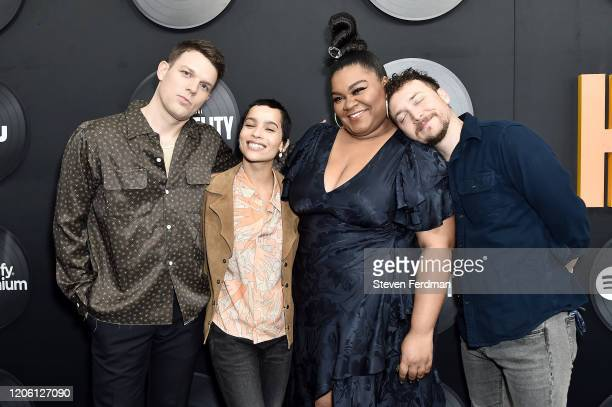 "Jake Lacy, Zoe Kravitz, Da'Vine Joy Randolph and David Holmes attends Hulu's ""High Fidelity"" New York premiere at Metrograph on February 13, 2020 in..."