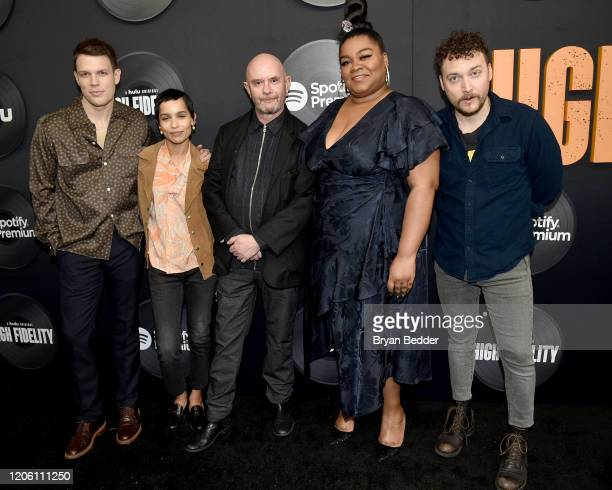 "Jake Lacy, Zoe Kravitz, Nick Hornby, Da'Vine Joy Randolph, and David H. Holmes attend the ""High Fidelity"" New York Premiere at The Metrograph on..."