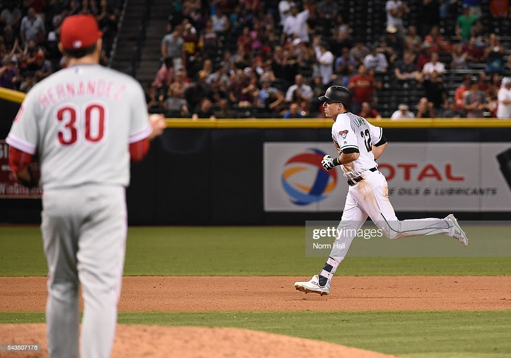 Jake Lamb #22 of the Arizona Diamondbacks rounds the bases after hitting a solo home run during the seventh inning off of David Hernandez #30 of the Philadelphia Phillies at Chase Field on June 28, 2016 in Phoenix, Arizona.