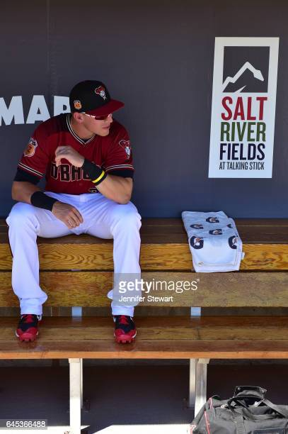 Jake Lamb of the Arizona Diamondbacks sits in the dugout prior to the spring training game against the Colorado Rockies at Salt River Fields at...
