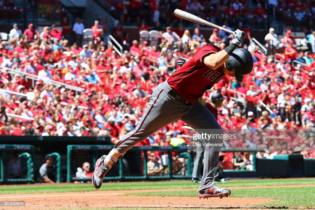 Jake Lamb #22 of the Arizona Diamondbacks slams his bat after flying out against the St. Louis Cardinals in the fourth inning at Busch Stadium on July 30, 2017 in St. Louis, Missouri.