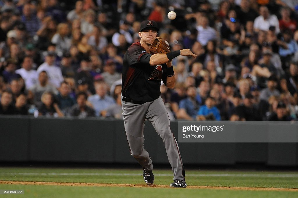 Jake Lamb #22 of the Arizona Diamondbacks throws to first base in the six inning against the Colorado Rockies at Coors Field on June 24, 2016 in Denver, Colorado. The Diamondbacks defeat the Rockies 10-9.