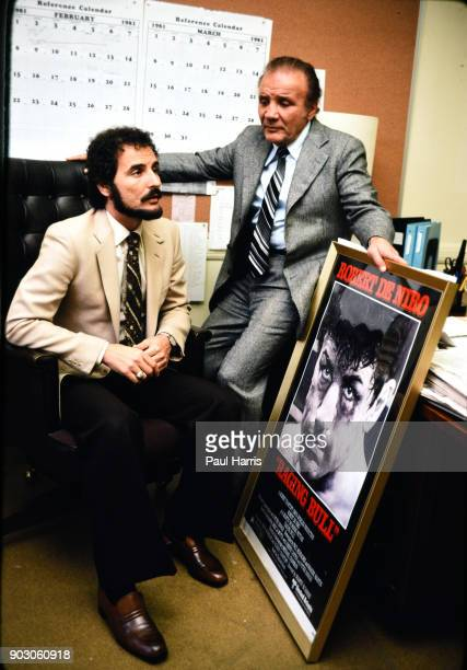 Jake LaMotta a boxer who's life was told in the film Raging Bull starring Robert DeNiro poses and gives an interview March 16 1981 in an office in...
