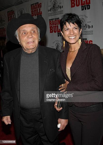 """Jake LaMotta and fiance Denise during """"Raging Bull"""" 25th Anniversary and Collector's Edition DVD Release Celebration at Ziegfeld Theatre in New York..."""