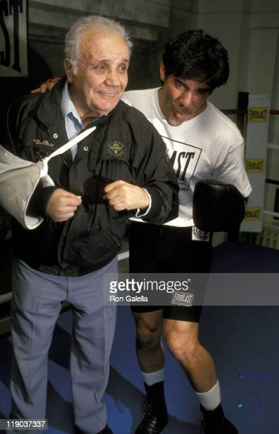 Jake LaMotta and Geraldo Rivera during Grand Opening of Broadcast Boxing Club at Broadcast Boxing Club in New York City New York United States