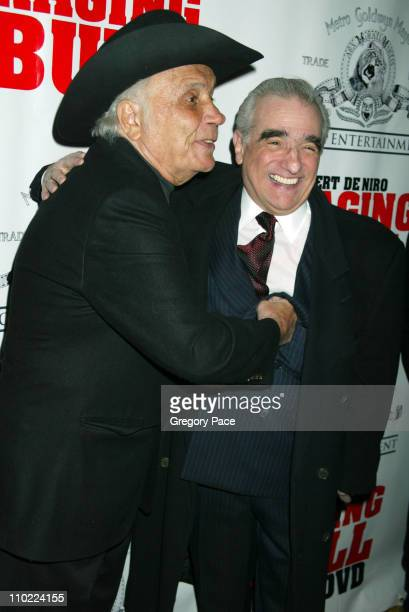 """Jake LaMotta and Martin Scorsese during """"Raging Bull"""" 25th Anniversary and Collector's Edition DVD Release Celebration - Inside Arrivals at Ziegfeld..."""