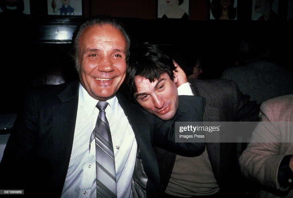 Jake LaMotta and Robert De Niro at Sardi's circa 1981 in New York City.
