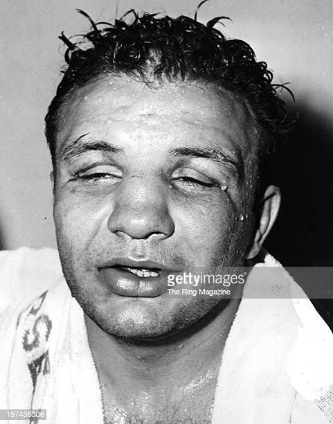 Jake LaMotta talks to the press after losing the fight against Bob Murphy at Yankee Stadium on June 271951 in Bronx New York Bob Murphy won by a RTD 7