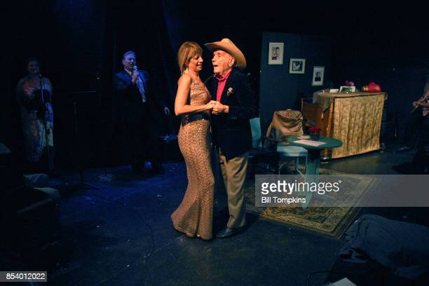 Jake LaMotta the Raging Bull and his seventh wife Denise Baker dance during a performance of the Off Broadway play LADY AND THE CHAMP at the Richmond...
