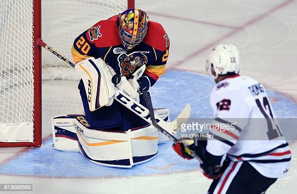 Jake Larw of the Erie Otters makes a save on a shot by Akil Thomas of the Niagara IceDogs during the third period of an OHL game at the Meridian...