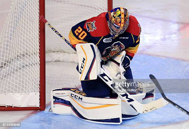 Jake Lawr of the Erie Otters watches the puck during an OHL game against the Niagara IceDogs at the Meridian Centre on October 6 2016 in St...
