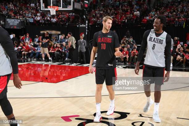 Jake Layman and AlFarouq Aminu of the Portland Trail Blazers participate in the team's annual Fan Fest open scrimmage September 30 2018 at the Moda...