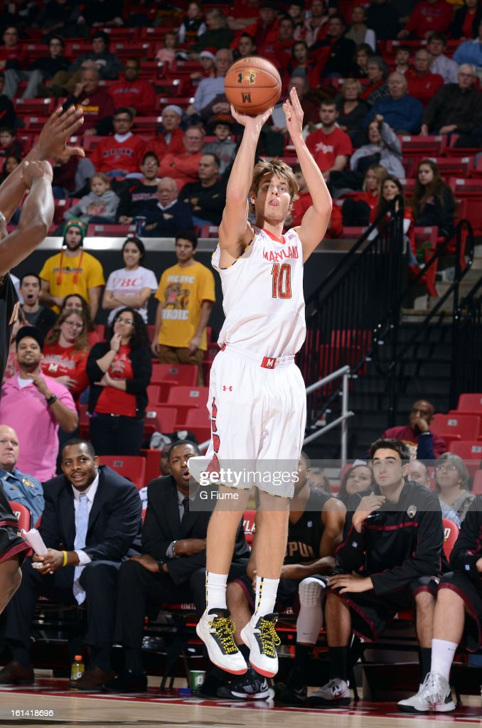 Jake Layman #10 of the Maryland Terrapins shoots the ball against the IUPUI Jaguars at the Comcast Center on January 1, 2013 in College Park, Maryland.