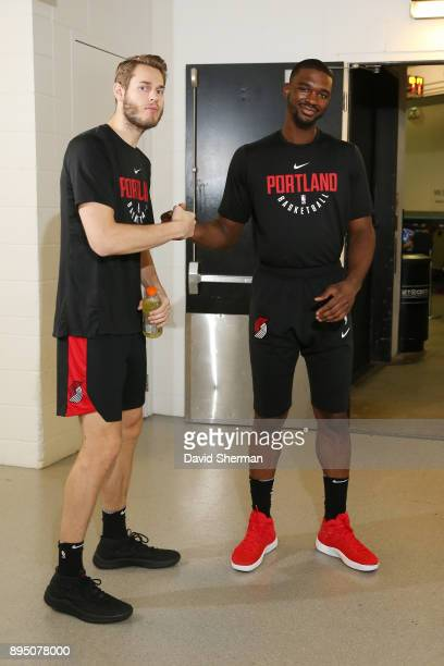 Jake Layman of the Portland Trail Blazers and Noah Vonleh of the Portland Trail Blazers are seen before the game against the Minnesota Timberwolves...